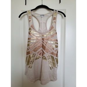 Express Tan Tank with Gold & Copper Sparkle!